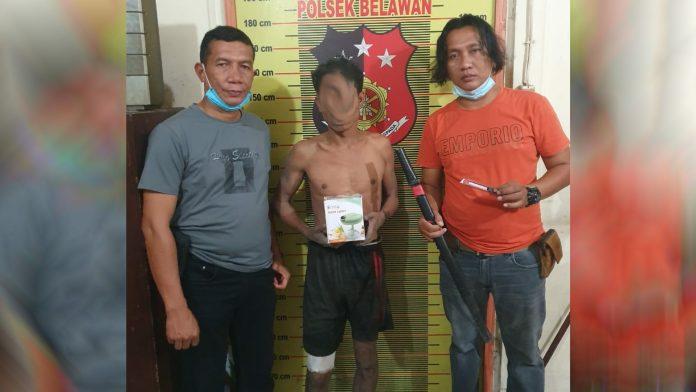 Pelaku pencurian dengan kekerasan saat diringkus Reskrim Polsek Belawan.