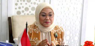 Menteri Ketenagakerjaan Ida Fauziyah memberikan sambutan secara virtual dalam peringatan Hari Pekerja Migran Internasional, Jakarta, Jumat (18/12/2020).(Dokumentasi Humas Kementerian Ketenagakerjaan)