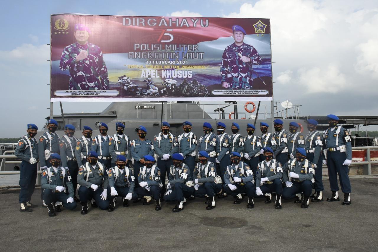 Polisi Militer Angkatan Laut Lantamal I Sang Prajurit Wijna Wira Widhayara merayakan Hari Jadi yang Ke-75 di Lapangan Apel Mako Lantamal I Belawan pada Senin (22/02/2021).